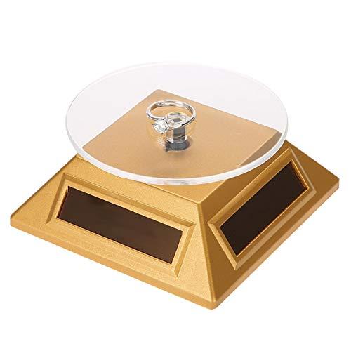 Solar Display Stand, 360 Grad Drehteller rotierend, Schmuck Organizer Display Stand, energiesparend und umweltfreundlich, für die Anzeige von Watch Phone(Gold)