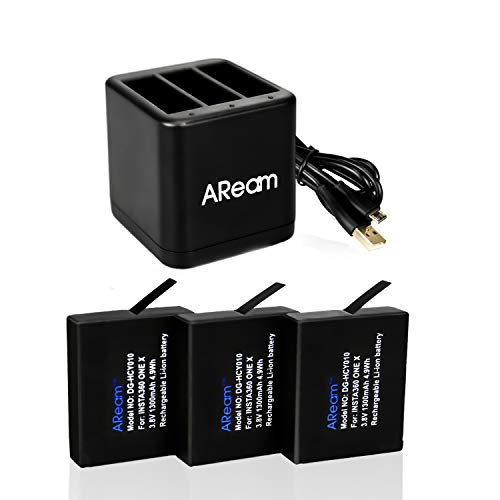 Aream 3-Pack Insta360 One X Camera 1300mAh Replacement Batteries and 3-Channel USB Charger...