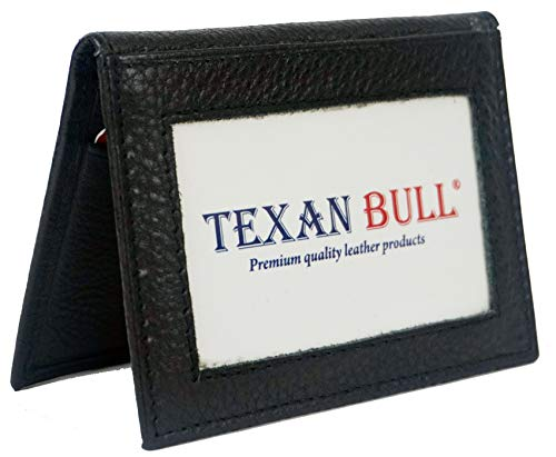 Mens Bifold Leather Thin Window Id Thin Plain Credit Cards Wallet (Black)