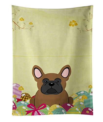 Caroline tesoros del huevos de Pascua marrón Bulldog Francés toalla de cocina, multicolor, 25'x 15'