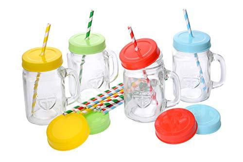 GRÄWE Trinkglas mit Deckel und Strohalm, 4er Pack Trinkgläser mit Schraubverschluss, Henkel, 4 Stück Henkelgläser Set, farbig - 450 ml