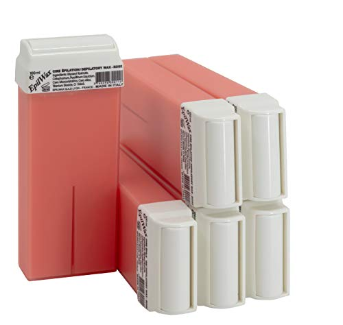 Epilwax 6 Cartuchos Roll-On de Cera Depilatoria Tibia Cera roll on de 100 ml de Cera profesional Rosa de alta calidad para Depilación con Bandas Depilatorias des las piernas, axilas, y el cuerpo