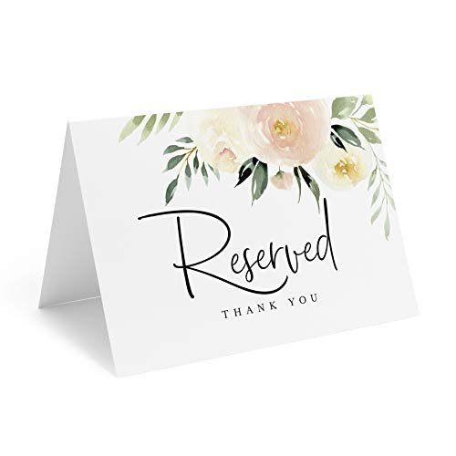 Bliss Collections Blush Floral Reserved Signs for Wedding, Reserved Table Cards, Table Setting Cards, 10 Pack of 4x6 Cards