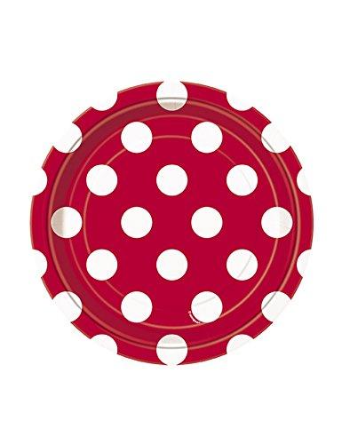 les colis noirs lcn 8 Petites Assiettes Rouges à Pois Blancs en Carton 18 cm - Taille - Taille Unique - 225896