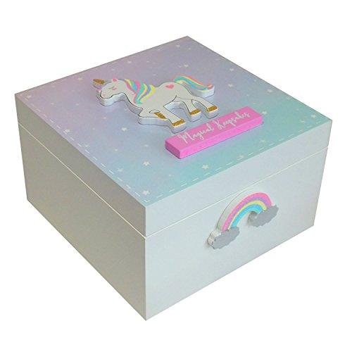 Caja de recuerdos para niñas con diseño de unicornio mágico con texto en inglés 'Magical Keepsakes', color rosa