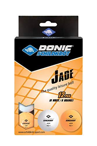 Donic Schildkröt Calidad Poly 40+, Paquete con 12 Unidades Pelota de Tenis de Mesa Jade, Blanco/Naranja, 618045