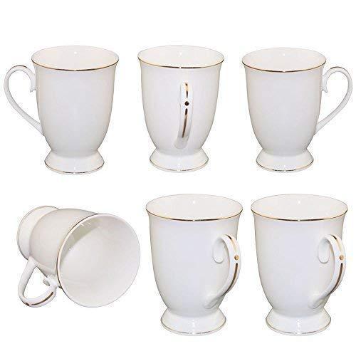 Neue Bone China Weiß Cappuccino Kaffeetasse Fine Porzellan Klassisch 11oz Kaffeebecher Tee Geschirr mit Fein Henkel und Golden Rand Dekor fürAlle Getränke