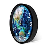 cbvdalodfej Planeta Tierra LED Control de Sonido Luminoso Reloj de Pared Reloj Relojes Luz Nocturna activada por Sonido Marco de Metal Diseño de Reloj para el hogar