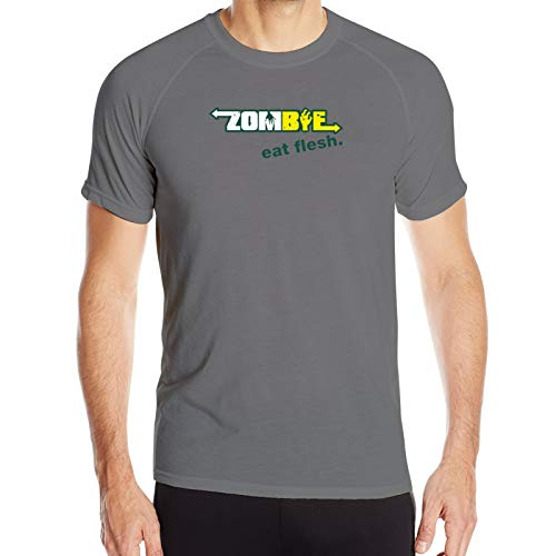 Mens Subway Zombies Eat Flesh Sporty Style T-Shirts Short Sleeve Athletic Quick-Drying Tee Top Deep Heather