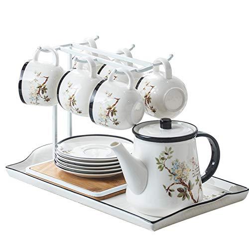 Tazas de capuchino de porcelana con platillos Tetera de gran capacidad, conjunto de 6 tazas de espresso para Latte, Mocha, capuchino y té, juego de té de la tarde
