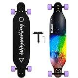 SMOOSTYLE Skateboard Longboard Twin nell'Acero Naturale 8 Strati 41'x 9.5' con Ruote in PU, Cuscinetti...