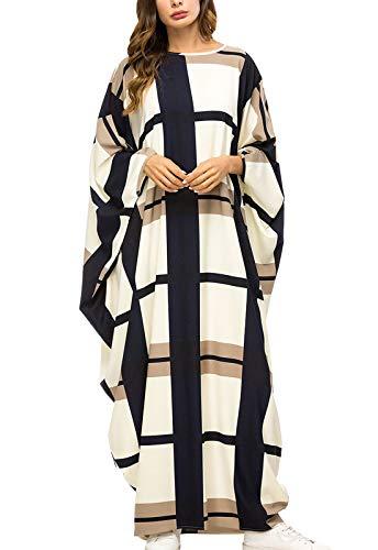 Flygo Women's Batwing Plaid Long Sleeves Maxi Dress Oversized Sleep Loungewear (One Size