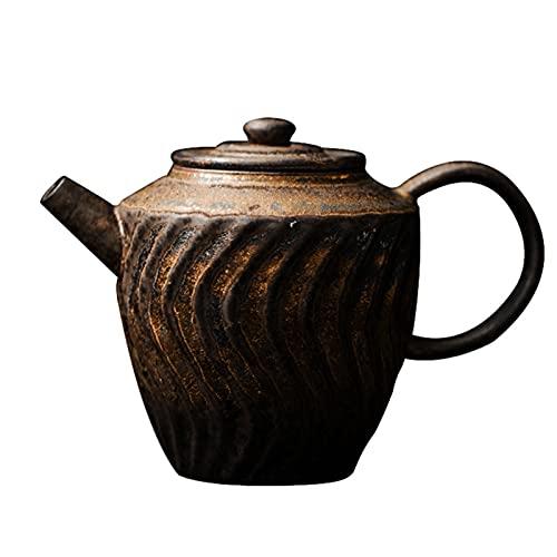 Tetera Té Retro hervidor de gres Tetera Hecha a Mano Tetera Kung fu Set Tetera Tetera Fabricante de té del hogar Horno a una Sola Olla Tetera Portátil
