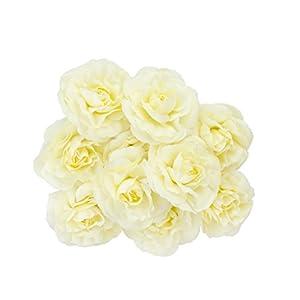 10 Cabezas de Flor Camelia Artificial Seda Decoración Boda Casa Partido Color Beige