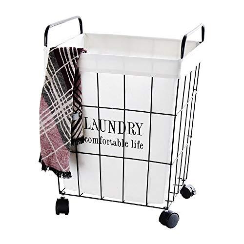 SGR SHOPS Wasserij Hamper Mand Rolling Cart Toy Vuil Kleding Opslag Mand Wasbak Zonnebanken Organizer Ijzer op Wielen met Verwijderbare Mand Liner en Handvat Home, Size, S