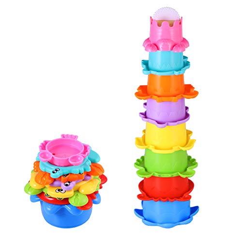 TOYMYTOY Baby Bad Spielzeug Set Stapelbecher Wasser 8PCS Abfliessen Becher Stapeln Spielzeug für Kinder BPA Frei Badewannenspielzeug Sandspielzeug