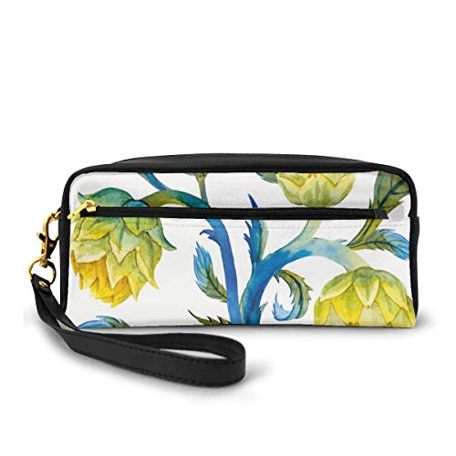 Pencil Case Pen Bag Pouch Stationary,Watercolor Abstract Flowers Natural Foods Organic Way of Life,Small Makeup Bag Coin Purse