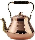 DEMMEX Handmade Heavy Gauge 1mm Thick Natural Turkish Copper Tea Pot Kettle Stovetop Teapot, LARGE 3.1 Qt - 2.75lb (Hammered Copper)