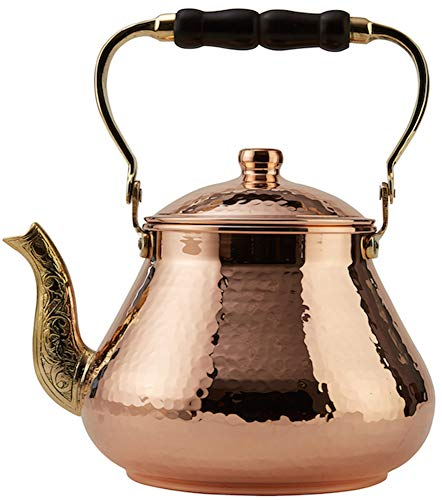 DEMMEX Handmade Heavy Gauge 1mm Thick Natural Turkish Copper Tea Pot Kettle Stovetop Teapot, LARGE 3.1 Qt - 2.75lb (Hammered Copper)