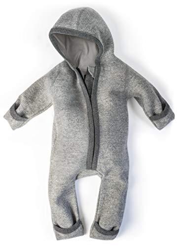 Ehrenkind® WALKOVERALL | Baby Wollwalk-Overalls aus Natur Schurwolle mit Reißverschluss | Walk Wolle Woll-Anzug für Kleinkind und Baby Grau Gr. 50/56