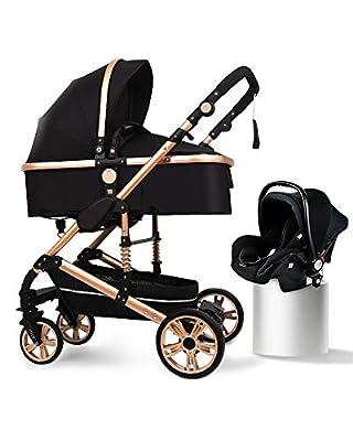 B.CHILDHOOD Baby Stroller Foldable Travel System High Landscape View Pram Pushchair Pram, Black by B.Childhood