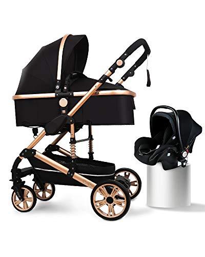 B.CHILDHOOD Baby Stroller Foldable Travel System High Landscape View Pram Pushchair Pram, Black