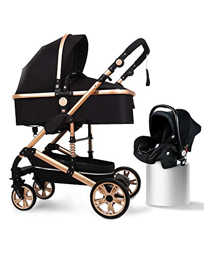 B.Childhood Baby Stroller Set Portable Anti-Shock Luxury for Newborn Infant Cradle Convert to Bassinet Car Seat Basket 0-4 Year in Black