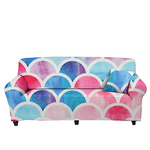 HXTSWGS elastische Möbel Protector,3D Sunflower Print Sofa Cover, Colorful Fish Scale Anti-Dirty Protection Cover, Leopard Print Sofa Cover-Color2_145-185cm