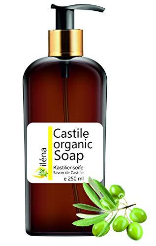 Echte BIOLOGISCHE CASTILE ZEEP uitsluitend op basis van olijfolie, verwijdert mee-eters, gezichts-, hand-, lichaamsreinigingsgel, haar, keuken, kleding. heldere reinigingsvloeistof (250 ml 8,8 fl oz)