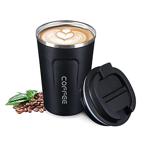 flintronic Taza de café 380ML, Taza de Viaje de Acero Inoxidable - Taza de automóvil de Doble Pared de Aislamiento Taza, Calibre Super Wide Cup para Hielo Fácil de Poner(Negro)