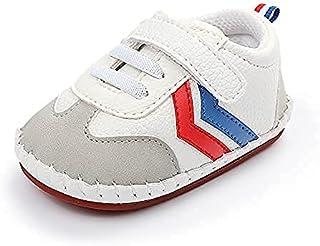 کفش های بوم دخترانه پسرانه بچه گانه Unisex Baby Anti-Slip Sole Toddler Crib کفش های کتانی اول واکرز 0-18 ماه ، طلای سفید مشکی نوار قرمز