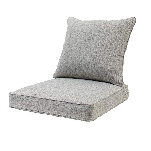 QILLOWAY Outdoor Chair Cushion Set,All WeatherOutdoor Cushions for Patio Furniture.Grey/Black