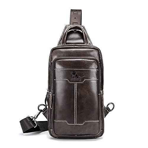 Nefli Echte Leder-Umhängetasche für Männer, Umhängetaschen für das Reisegeschäft, Herrentasche Brusttasche Bag, Herren iPad Mini Tab Messenger Crossbody Tasche Handtasche Kaffee