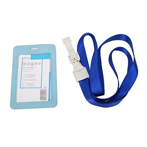 ID-korthållare - Affärs-ID Badge Snodd Namn Etikett Hållare Bälte Kontor Arbete Nackrem Nyckelkort (KP-54901 Blå)