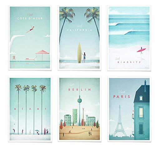 JUNIQE® Poster-Set - Reiseposter - Poster & Prints für stilvolle Wände - 6X 20x30