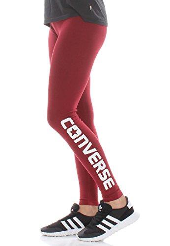 Converse Leggings Women Wordmark Legging 14643C Dunkelrot 607, Größe:S