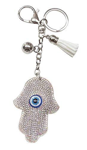 Generieke sleutelhanger, Fatima handtas sieraden, witte strass-steentjes, meerkleurige oogbescherming