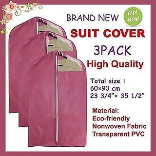 FidgetGear New Garment Suit Dress Storage Bag Clothes Cover 3 Pack Garnet One Size