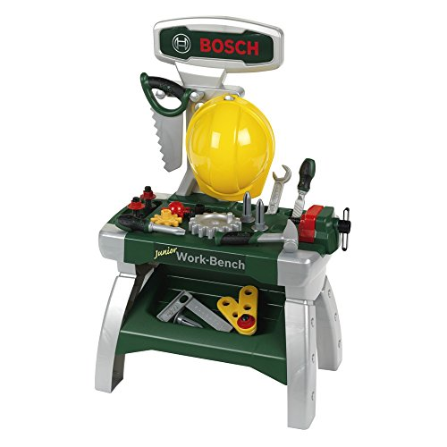 Theo Klein 8612 Bosch Werkbank Junior 2+ I Inkl. Helm, Schraubstock, Werkzeugen, Latten, Nägel,...
