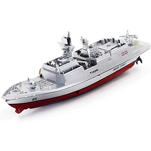 RC Remote Controlled Mini Warship Frigate, Battleship, Ship, Boat, Complete Set Includes Battery, 2.4 GHz Remote Control Suitable for Children's Toys from 4 Years x (Color : Gray)