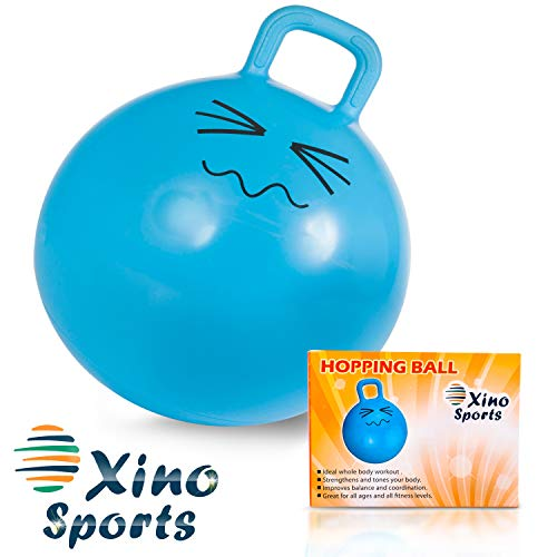 Xino Sports Hopping Ball for Kids - Teens and Adults, Offers Hours of Fun for Boys & Girls, Hopper Ball, Jumping Ball with Handle, 22 Inch Diameter (Blue)