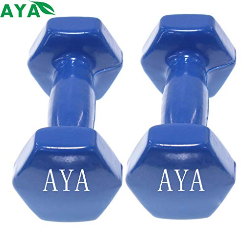 Set de 2 Mancuernas con Revestimiento de Vinilo | Ejercicio Fitness | Entrenamiento en Casa | Gimnasio | Pesos de 0.5 a 5 Kg (1.0KG, Azul)