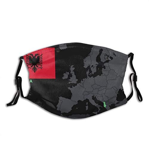 Facial Decoration,Albanien, Karte, Flagge, Europa Desktop Und Mobile Elastic Personalisierte Gesichtsschal Zum Schutz Vor Rauchverschmutzung,20x15cm