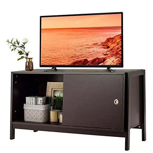 Dfghbn Mueble de TV para TV con puerta corredera (color: negro, tamaño: 44 x 18 x 23.5 cm)