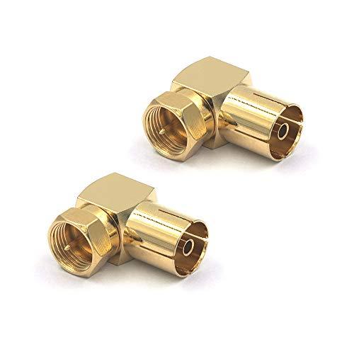 VCE 2 Stück SAT Antennenadapter F Stecker auf IEC Buchse Winkeladapter F stecker auf Koaxial IEC 90 Grad TV Adapter