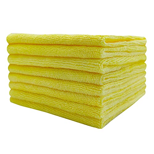 """Microfiber Cleaning cloth-8PK with high-Density Fiber for House Office no Peculiar Smell Washable Reusable lint-Free Cost-Effective Strong Detergency and high Water Absorption 12""""x12"""" (Yellow)"""