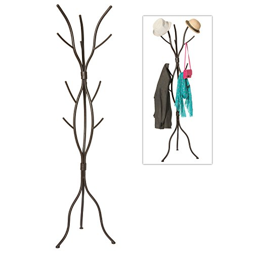 MyGift Modern Tree Branch Black Metal Freestanding Entryway Coat Hanger Stand/Hallway Garment Rack