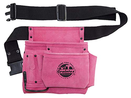 """GRAINTEX SS2081 5 Pocket Nail & Tool Pouch Pink Color Suede Leather with 2"""" Webbing Belt for Constructors, Electricians, Plumbers, Handymen"""