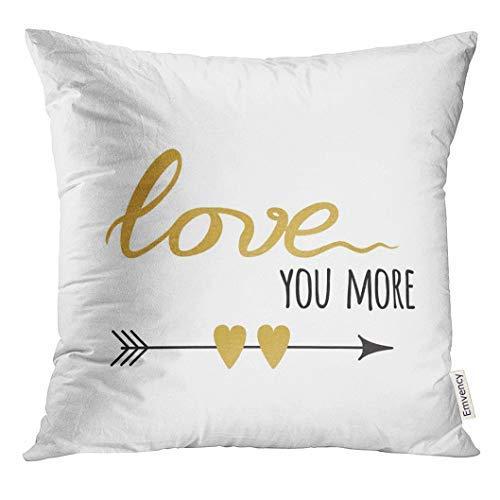 Letrero con texto en inglés «Love You More» con flecha y corazón decorados en forma de corazón y funda de cojín romántica de 45 cm x 45 cm, decoración del hogar, fundas de almohada para sofá, adolescentes, niñas