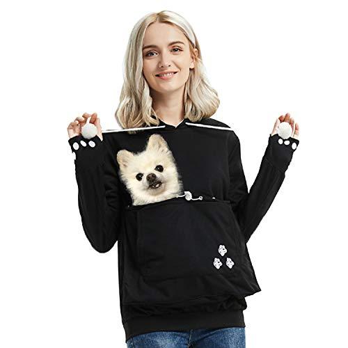 Womens Pet Carrier Shirts Mewgaroo Hoodie Pet Pouch Sweatshirt Kangaroo Pouch Pullover Kitten Puppy Holder Hood Sweatshirt Black
